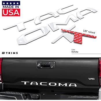 BDTrims Domed 3D Raised Tailgate Letters Compatible with 2016-2020 Tacoma Models (White)