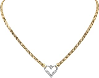 14k Gold Two-Tone Open Heart Pendant Necklace