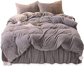 YOUHAM Faux Rabbit Fur Crystal Velvet Reversible Bedding Sets Fluffy Pompom Duvet Cover Sets Solid Zipper Closure (Queen, Dark Gray)