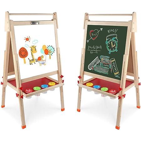 Arkmiido Tableau Chevalet Multifonctions Tableau Ardoise Double Face Magnétique Tableau Noir et Blanc en Bois avec Accessoires pour Enfants Jouet Educatif