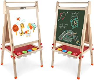 Arkmiido Pizarra Infantil con pies Regulables ,Pizarra Madera Infantil,Caballete Pintura Niños, 4 En 1 ,Pizarra magnética ...