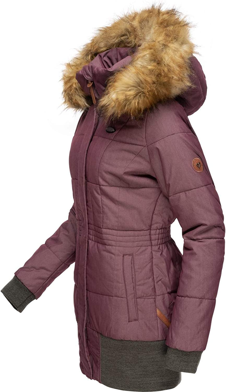 Alife and Kickin Damen Winterjacke Winterparka mit abnehmbarem Kunstfell Alva 3 Farben XS-XL Violett