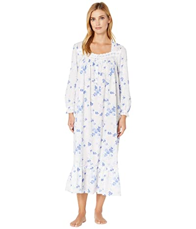 Eileen West Cotton Woven Lawn Long Sleeve Ballet Gown (White Ground Floral) Women