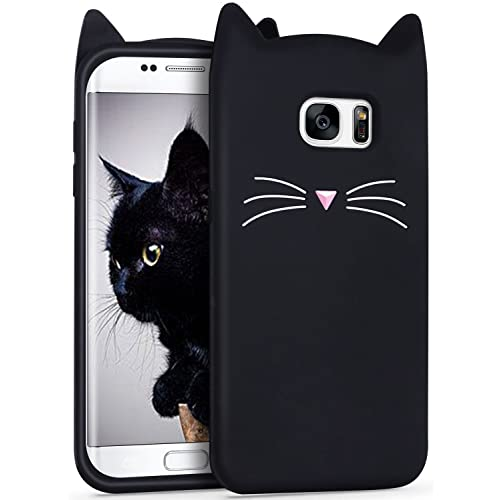 Galaxy S7 Edge Silicone Case,Imikoko S7 Edge Case Slim-Fit Anti-Scratch Shockproof Soft Silicone Case With Cute Cat Pattern for Samsung Galaxy S7 Edge (5.5 inch)(Black)