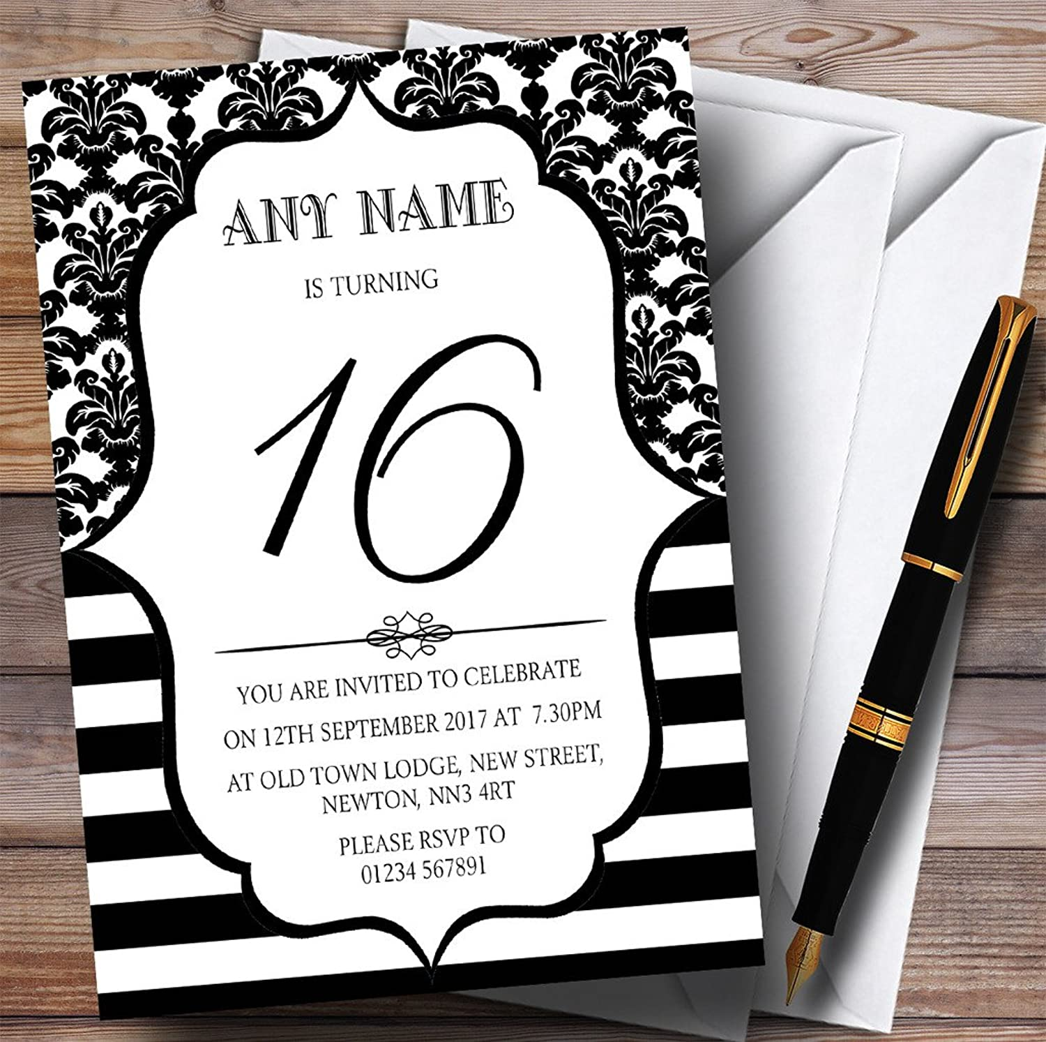 Vintage Damask Black & White 16th Personalised Birthday Party Invitations