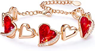 Love Heart Bracelets for Women 18k Rose Gold Plated Link...