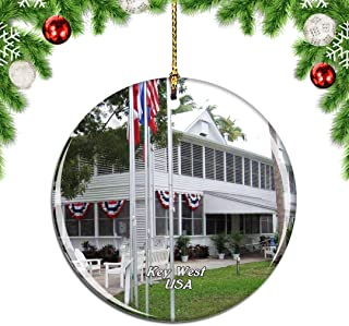 Weekino USA America Harry S. Truman Little White House Key West Christmas Xmas Tree Ornament Decoration Hanging Pendant Decor City Travel Souvenir Collection Double Sided Porcelain 2.85 Inch