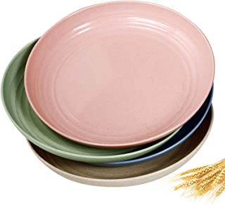 8.9 inch Wheat Straw Dinner Plates - Microwave Safe Lunch Plates Reusable Eco-friendly BPA Free Lightweight Degradable Unb...