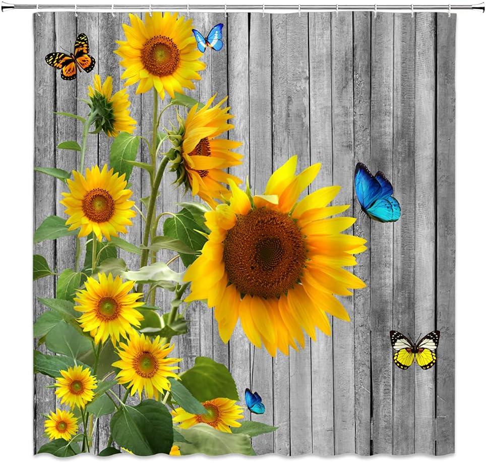 WZFashion Sunflower Shower Curtain Farmhouse Wo Butterfly Rustic 超特価SALE開催 いよいよ人気ブランド