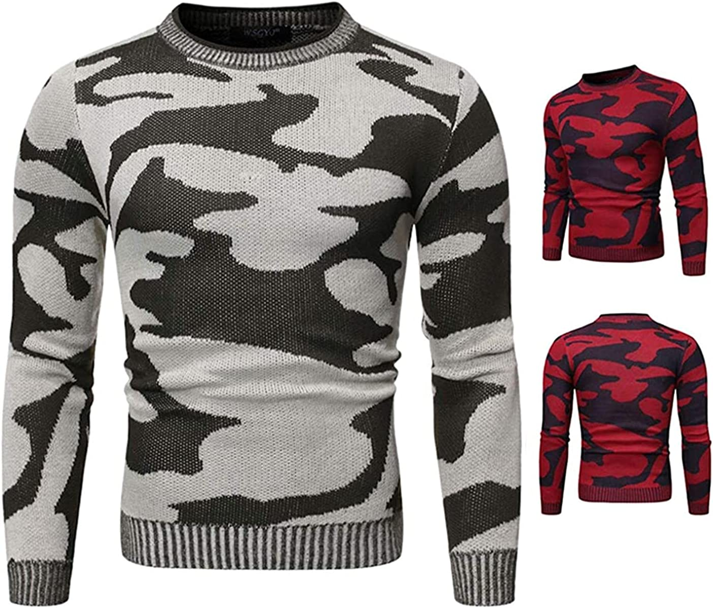 JOAOL Sweater Men Autumn and Winter Camouflage Round Neck Pullovers Contrast Loose Sweaters