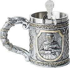 Viking Helmet Coffee Cup Beer Mug Tankard for Men, Stainless Steel Mug Viking Drinking Horn Bar Cup Nordic Artwork Halloween Prop Figurine Decor for Home