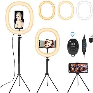 Fostoy Ring Light, Anillo de Luz para Selfies con Trípode Versátil y Soporte para Teléfono, con 3 Colores y 10 Niveles de ...