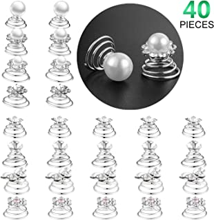 40 Pieces Spiral Hair Pins Swirl Hair Twists Coils Rhinestone Hair Spiral Jewelry Hair Pin Clip Accessories for Wedding Bridal Party Favors, 8 Styles