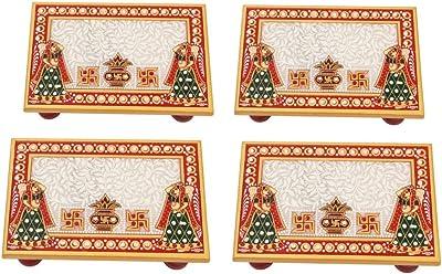 Marble Puja Chowki set of 4 pc Rectangle shape with Kalash design by Handicrafts Paradise
