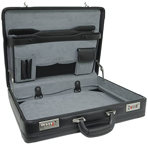 Alpine Swiss Expandable Leather Attache Briefcase Dual Combination Locks 1  Year Warranty 076b7bdfd3d9c