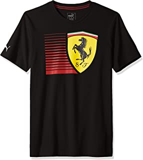 PUMA Mens Formula 1 Striped Big Shield Tee Scuderia Ferrari, Small, Black
