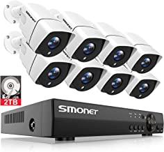 SMONET 5MP Home Security Camera Systems,8-Channel 5-in-1 DVR Indoor Outdoor Camera System(2TB Hard Drive),8pcs 1080P(2MP) Wired Surveillance Cameras,Night Vision,Free APP,Easy Remote View,P2P DVR Kits