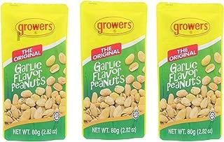 Growers Peanut Pack of 3 the Original Garlic Flavor Peanuts 2.82 Oz. Per Pack