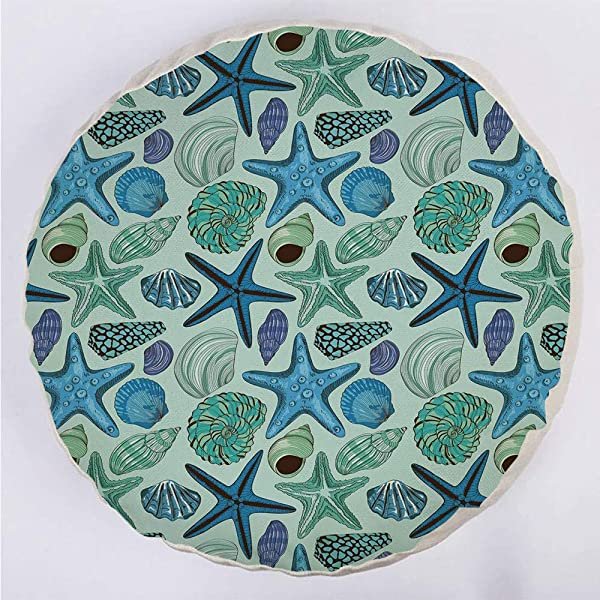 YOUWENll Round Decorative Throw Pillow Floor Meditation Cushion Seating Aquarium Inspired Composition Tropical Seashells Scallops Cockles Clams Decorative For Home Decoration 17 X17 Multicolor