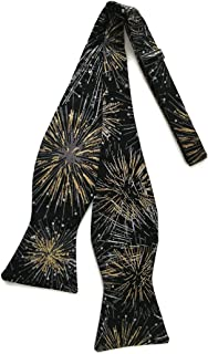 Mens Self-tie Bow Tie Fireworks in Black and Gold Metallic