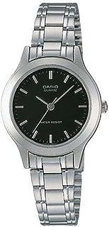Casio # ltp1128a-1a Mujer, Metal, analógico, moda esfera de color negro reloj de cuarzo