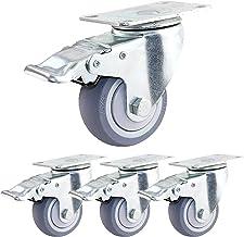 Zwenkwielen met remmen, rubberen zwenkwielen, met schroeven, meubelwielen, 360 graden;Rotatie, stil, Wiegwielen, belastin...