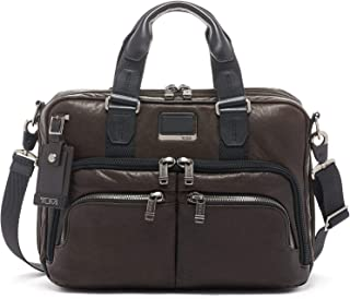 TUMI - Alpha Bravo Albany Leather Laptop Slim Commuter Brief Briefcase - 14 Inch Computer Bag for Men and Women - Dark Brown
