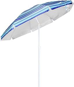 Parasol en aluminium avec protection UV 50+, parasol inclinable de 200cm de diamètre, parasol pour la plage avec piquet stable de 3cm de diamètre