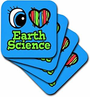 3dRose CST_106040_4 Bright Eye Heart I Love Earth Science-Ceramic Tile Coasters, Set of 8
