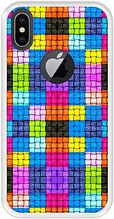 Hapdey Funda Transparente para [ iPhone X - XS ] diseño [ Cuadrados de Colores con Gotas de Agua ] Carcasa Silicona Flexible TPU