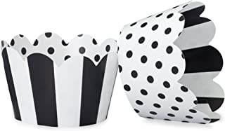 Black and White Cupcake Wrappers for Weddings, Graduations, Kids and Adult Birthday Parties, Baby Showers. Set of 24 Reversible Cup Cake Holder Wraps with Polka Dots and Stripes. Black, White