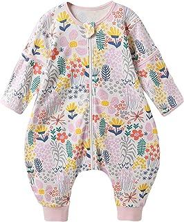 Bebé Saco de Dormir con Pies Pijama Algodón Desmontable de Manga Larga Primavera Verano Pijamas Mono Niños Niñas Unisex 4-5 años Flor