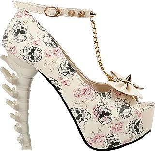 White Woman Sexy Women Butterfly Print Studs Chain Peeptoe Platform Bone Heel Pumps,LF80631