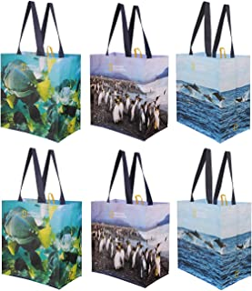 Reusable Grocery Bags Shopping Totes with Colorful National Geographic Prints Heavy Duty Water Resistant Laminated Materia...
