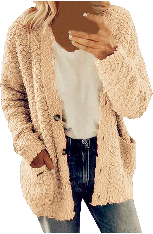 Womens Sherpa Fleece Overcoat Thick Plus Size Plush Jacket Coat Windbreaker Pockets Outwear Button Cardigan Sweatshirt