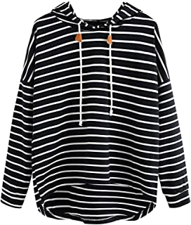 comprar comparacion VJGOAL Mujer otoño Plus Size Moda Raya con Bolsillos Casual Sweatshirt Manga Larga Crop Jumper Pullover Tops