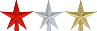 Aneco 3 Pack 4 Inches Glittered Mini Star Christmas Tree Topper Star Treetop for Small Christmas Tree Ornaments, Gold Silver and Red