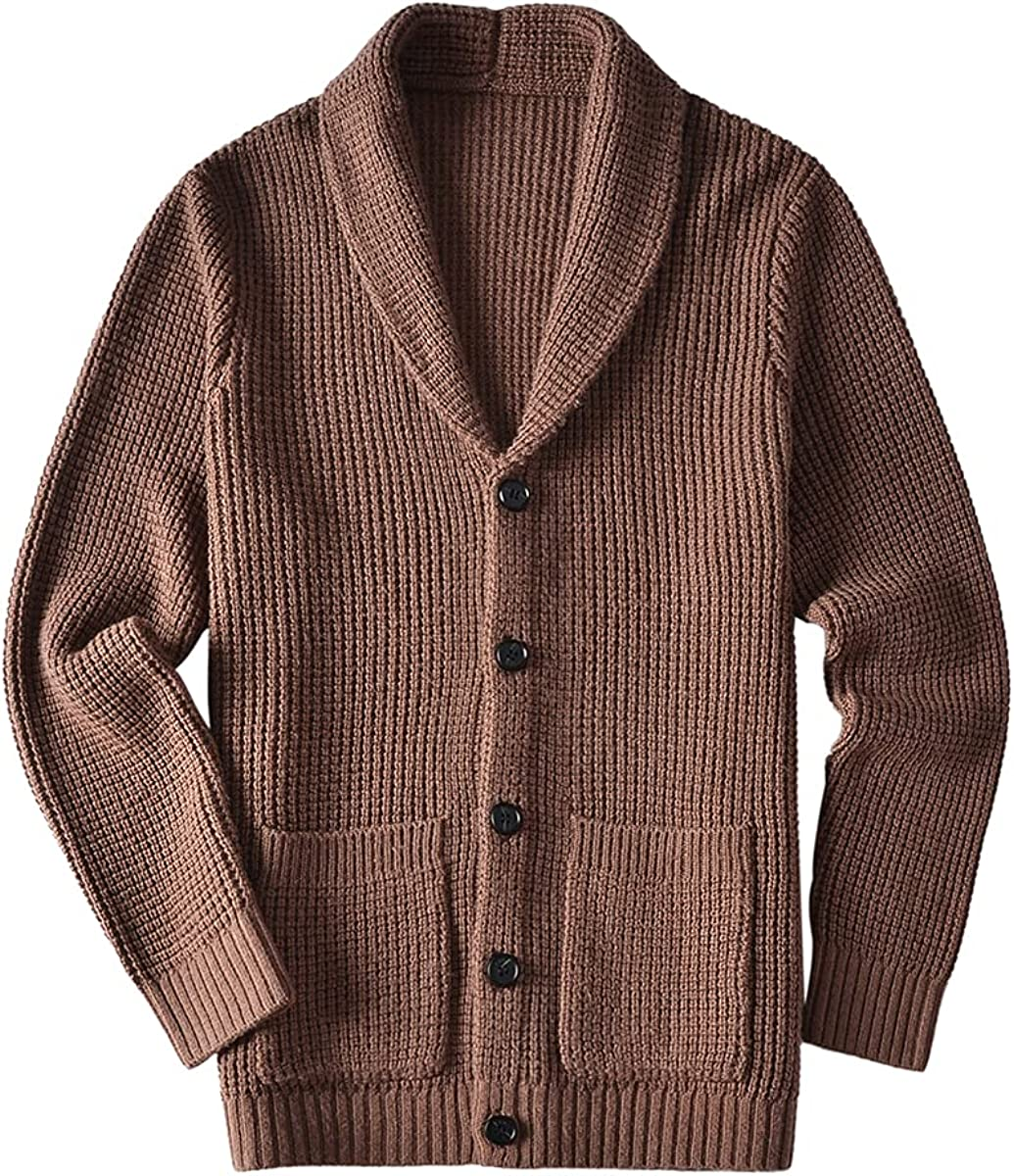 ZHILI Men's Casual Slim Thick Knitted Shawl 1 year warranty Cardigan Swea Max 60% OFF Collar