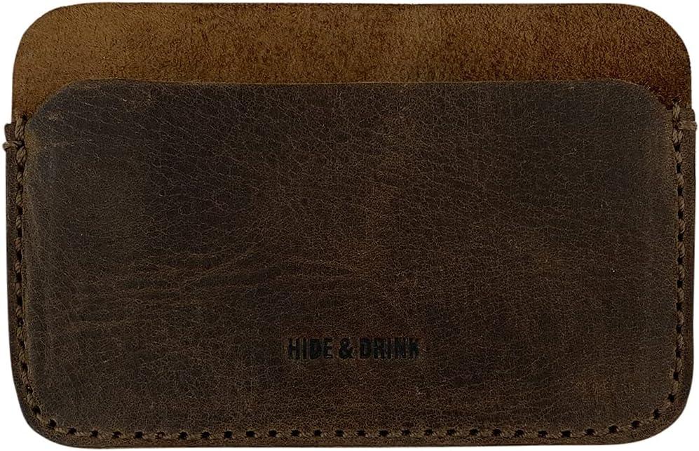 Hide Drink Great interest Formal Popular product Card Holder Leathe Grain from Full Handmade