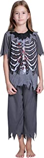 FEOYA Kids Girls Boys Halloween Skeleton Costume Cospaly Party Outfit Unisex 2-Piece Pajama Pjs Skull Print T-Shirt Pants Set