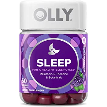 OLLY Sleep Melatonin Gummy, All Natural Flavor and Colors with L Theanine, Chamomile, and Lemon Balm, 3 mg per Serving, 25 Day Supply (50 Count)
