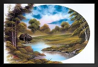 Bob Ross Lakeside Cabin Art Print Painting Black Wood Framed Art Poster 14x20