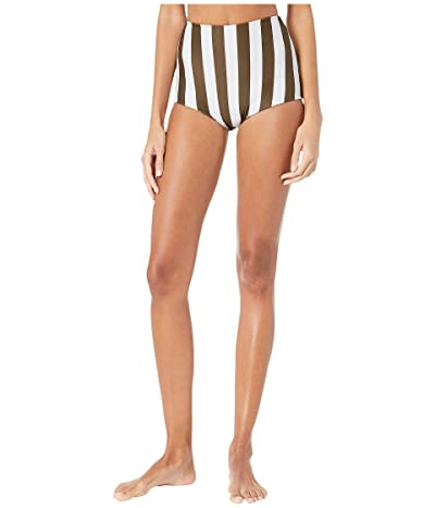 MIKOH SWIMWEAR Menehune Bottoms (Retro Stripe Olive) Women