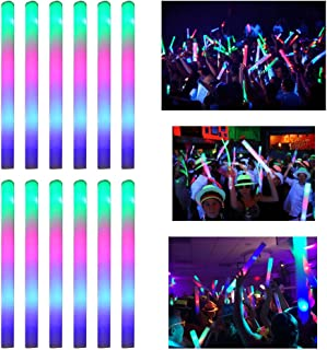 LifBetter 12+1 PCS LED Foam Glow Sticks, Glow in The Dark Party Supplies for Wedding Birthday Party Decoration by Seerootoys