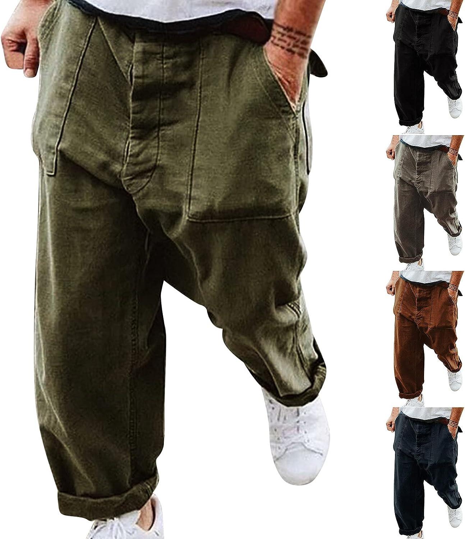YUNDAN 2021 Mens Cargo Pants Fashion Joggers for Men Plus Size Casual Multi Pocket Trendy Loose Pants Jogging