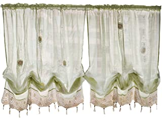 FADFAY Pastoral 57-Inch-by-69-Inch Adjustable Balloon Manual Hook Flower Shade Curtains,Light Green, 1 Panel