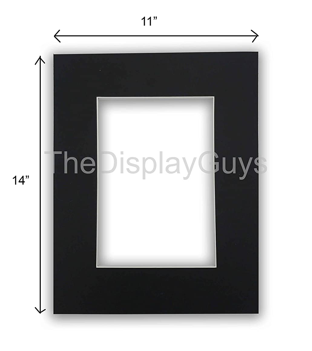 The Display Guys, Pack of 10pcs inch Acid-Free Black Pre-Cut Picture Mats White Core Bevel Cut Frame Mattes for Photo (11x14 inch Black Mats)