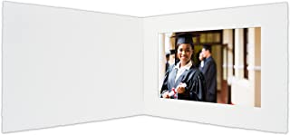 Golden State Art, Acid-Free Photo Folders for 5x7 Picture Horizonta,Pack of 25 White Cardboard/Paper Frames,Great for Portraits and Photos,Special Events: Graduation,Wedding,Baby Showers