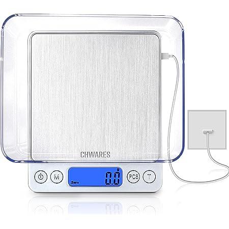 CHWARES Balance de cuisine numérique,charge USB,3 kg/0.1g,mini balance de cuisine électrique,balance numérique étanche,rechargeable par USB,écran LCD,en acier inoxydable,pour les ingrédients,café