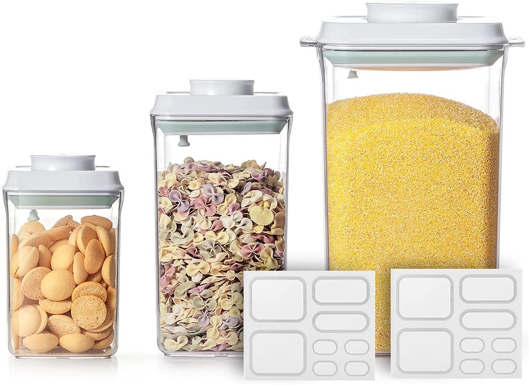 Ankou Airtight Food Storage Container Sets - 0.9 + 2.0 + 4.0 QT Pop Up Food Containers With Lids, Bpa Free Stackable Container for Rice Coffee Flour Sugar Cereals Formula - 8 Labels - Clear